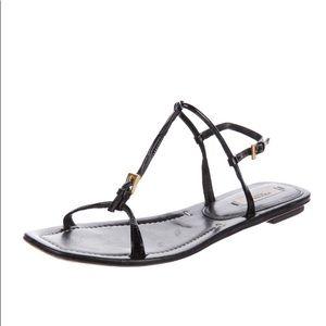 Prada black T-strap sandals